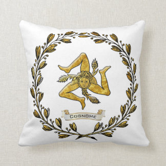 Sicilian Trinacria Olive Wreath Personalize Cushion