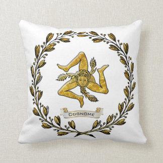 Sicilian Trinacria Olive Wreath Personalize Throw Pillow