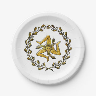 Sicilian Trinacria Olive Wreath Your Background Paper Plate