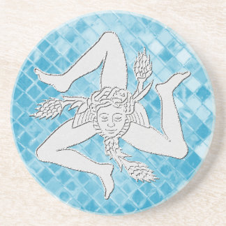 Sicilian Trinacria On Blue Mosaic Coaster