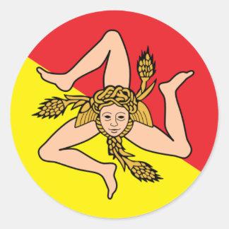 Sicilian Triskelion Round Car Stickers - Sicily