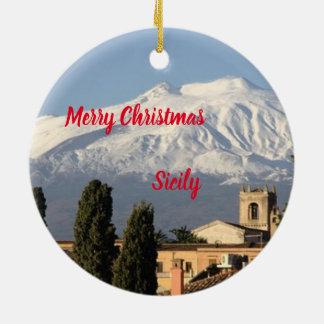 Sicily Panoramic Christmas Ornament