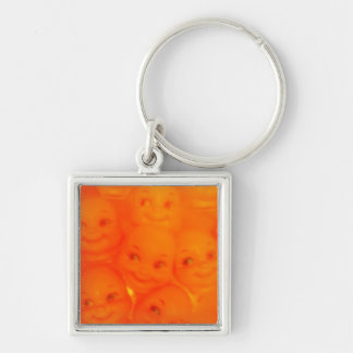 sick baby faces Silver-Colored square key ring