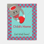 Sick Child Sock Monkey Blanket Red and Blue