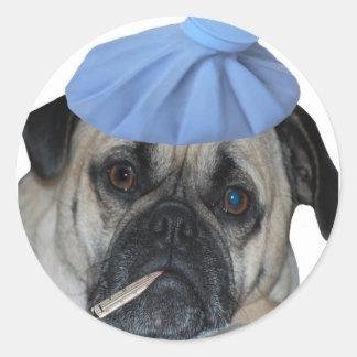 Sick Pug Dog Stickers
