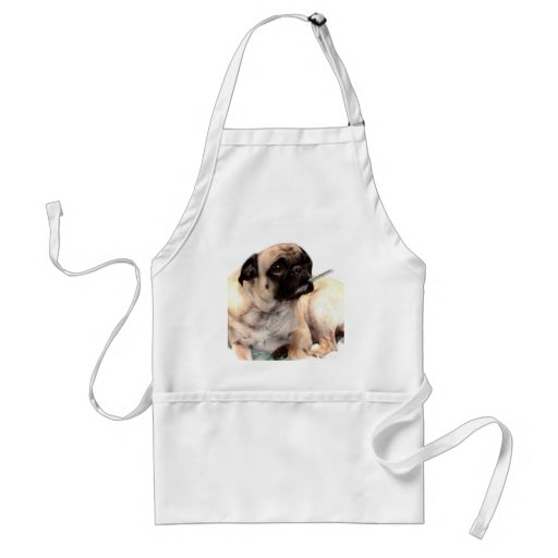 Sick pug with thermometer apron