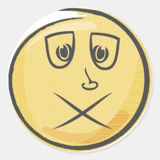 Sick Retro Emoji Classic Round Sticker