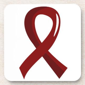 Sickle Cell Disease Burgundy Ribbon 3 Coaster
