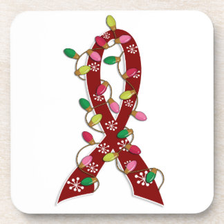 Sickle Cell Disease Christmas Lights Ribbon Drink Coasters