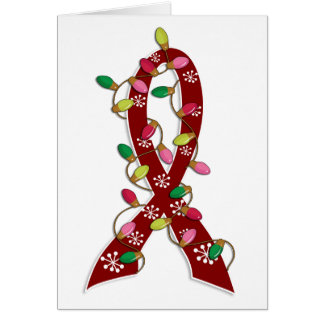 Sickle Cell Disease Christmas Lights Ribbon Greeting Card