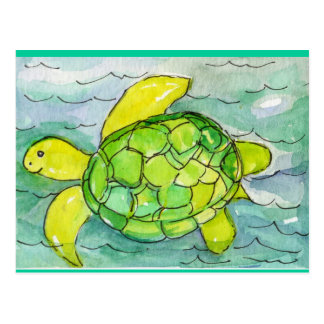 Sid the Silly Sea Turtle Original Watercolor Postcard