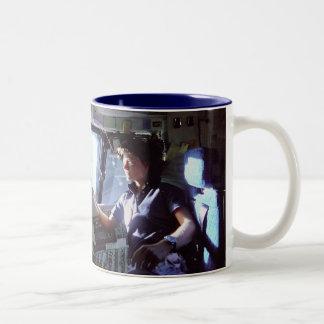 Side 1: Sally Ride - Side 2: Shuttle Lifting Off Two-Tone Coffee Mug