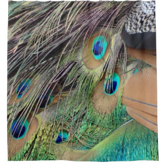 Side Feathers Of A Peacock Shower Curtain