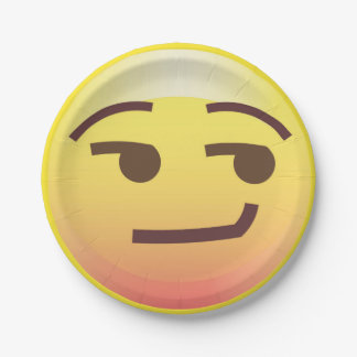 Side Glance Smug Emoji Paper Party Plate