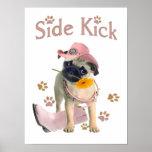 Side Kick Pug in Pink Print