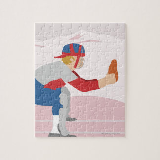 Side profile of a baseball player jigsaw puzzle