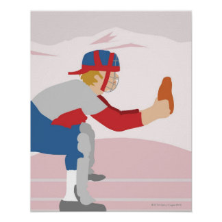 Side profile of a baseball player poster