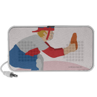 Side profile of a baseball player travel speakers