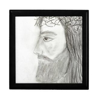 Side Profile of  Jesus Large Square Gift Box