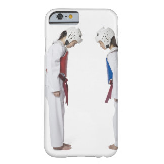Side profile of two taekwondo players bowing barely there iPhone 6 case