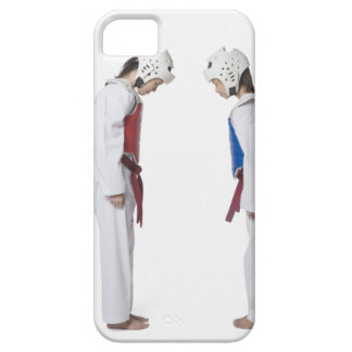 Side profile of two taekwondo players bowing iPhone 5 cover