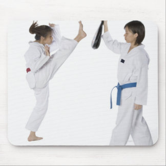 Side profile of two young women practicing mouse mat