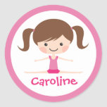 Side split gymnast girl cartoon custom name round sticker