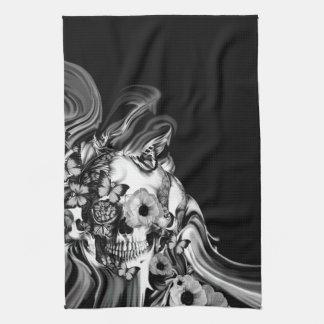 Side step, psychedelic smoke skull hand towel