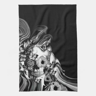 Side step, psychedelic smoke skull tea towel