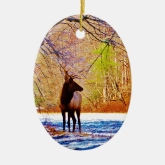 Side view Bull elk in Snow Christmas Ornament