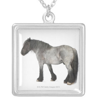 Side view of a Belgian horse, Belgian Heavy Silver Plated Necklace