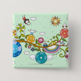 Side view of children playing on tree branch 15 cm square badge