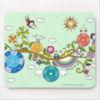 Side view of children playing on tree branch mouse mat