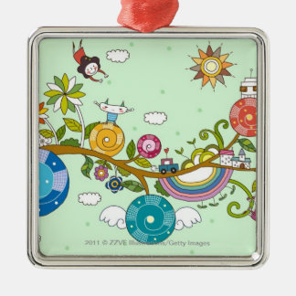 Side view of children playing on tree branch Silver-Colored square decoration
