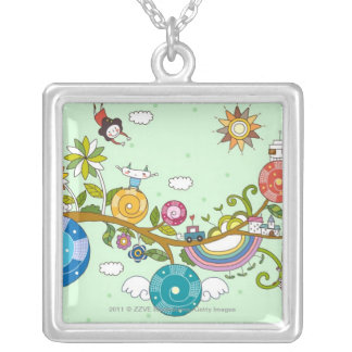 Side view of children playing on tree branch silver plated necklace