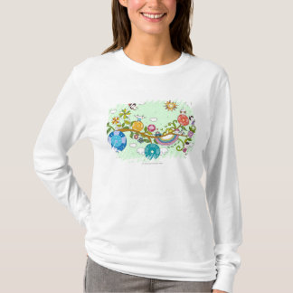Side view of children playing on tree branch T-Shirt