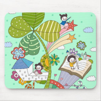 Side view of children studying by potted plant mouse pad