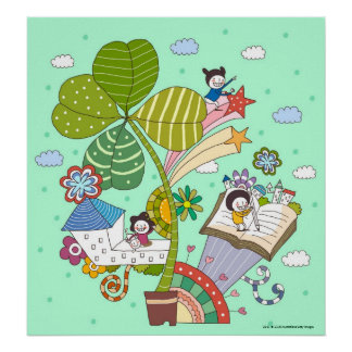 Side view of children studying by potted plant poster