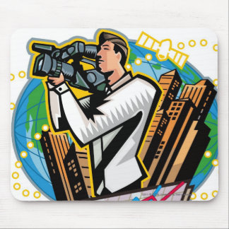 Side view of man shooting mouse mat