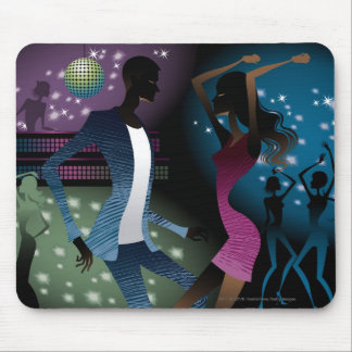 Side view of people dancing by microphone mouse mat