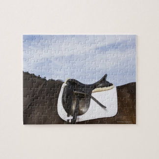 side view of saddled horse jigsaw puzzle