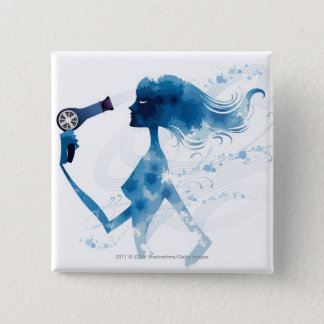 Side view of woman blow drying long hair 15 cm square badge