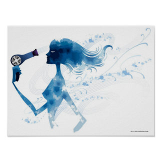 Side view of woman blow drying long hair posters