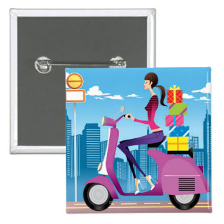 Side view of woman with gifts on scooter 15 cm square badge