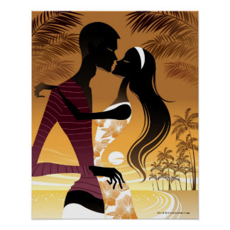 Side view of young couple standing in beach poster