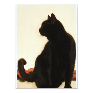 Side View Silhouette of A Black Cat Sitting On A R 14 Cm X 19 Cm Invitation Card