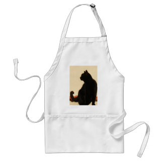 Side View Silhouette of A Black Cat Sitting On A R Adult Apron