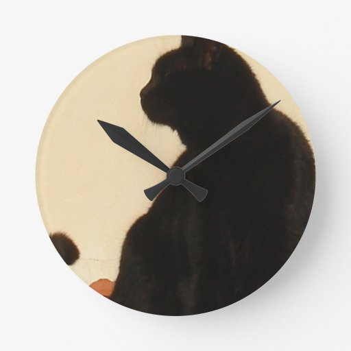 Side View Silhouette of A Black Cat Sitting On A R Round Clocks