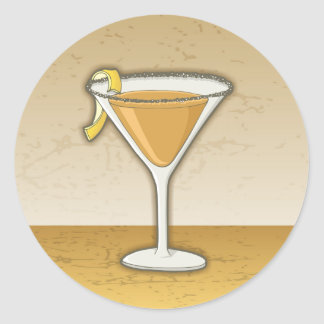Sidecar cocktail classic round sticker