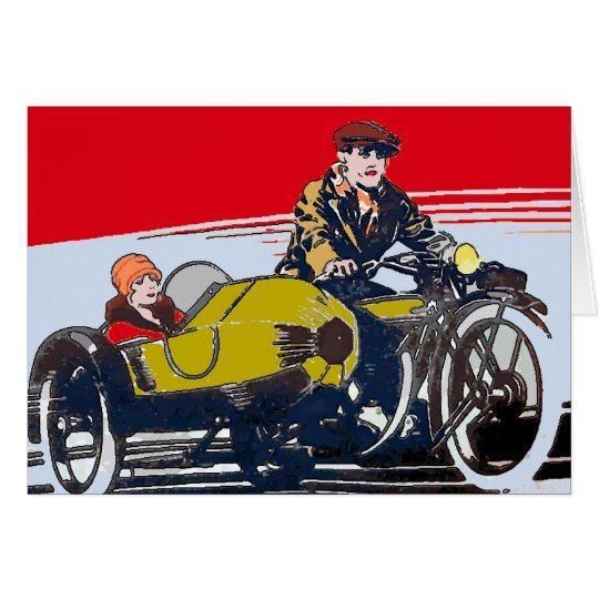 Sidecar Motorcycle Vintage Poster Card